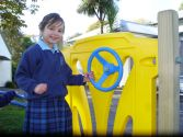 Aaliyah finds a cricle shape in the playground