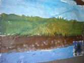 This is the canvas panel painted by the children from the sea, earth, forest to the sky